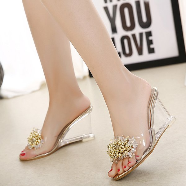 Women summer style sexy sweet glass rhinestone silver & gold crystal transparent wedegs high heels slides slippers sandals F38