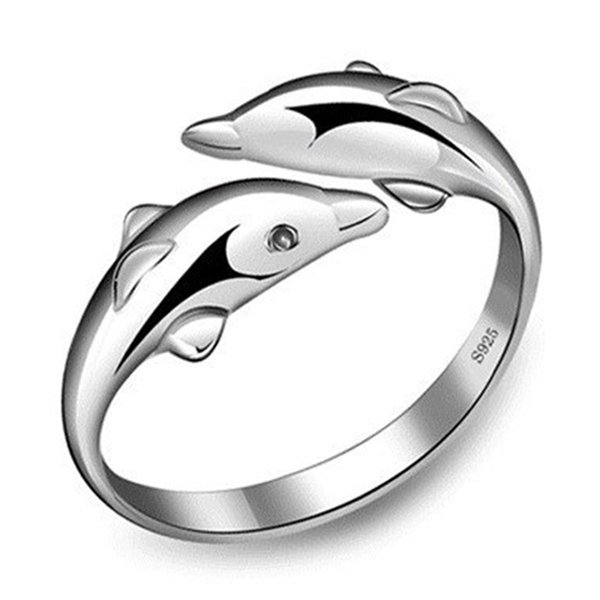 New Fashion Dolphin Rings Happiness Double Dolphin Love Anelli aperti per le donne regolabili del regalo di compleanno del partito