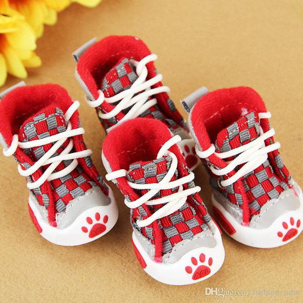 Spring Summer Pet Footwear High Quality Canvas Boots Shoes For Small Medium Pet Dog Cats, Slip-resistant Waterproof Grid Dog Shoes
