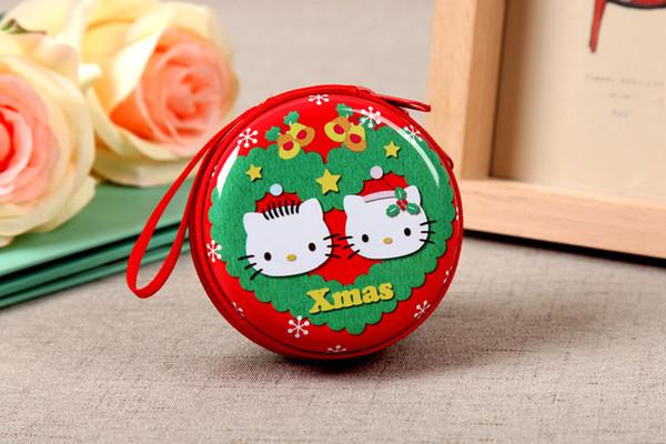 Monedero de regalo para navidad y caja de metal para niños y caja de colección para monedero de dibujos animados para auriculares