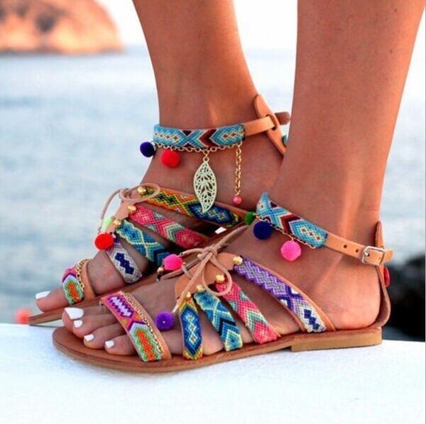 Plus Size 35-43 Ethnic Bohemian Summer Woman Pompon Sandals Gladiator Roman Embroidered Shoes Women Flats summer Sandal W353