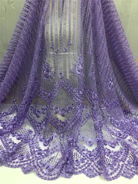 Нигерийский тюль кружевные ткани 2018 элегантность фиолетовый Африканский кружевной ткани/ высокое качество французский сетка кружевной ткани есть много бисера WMN98