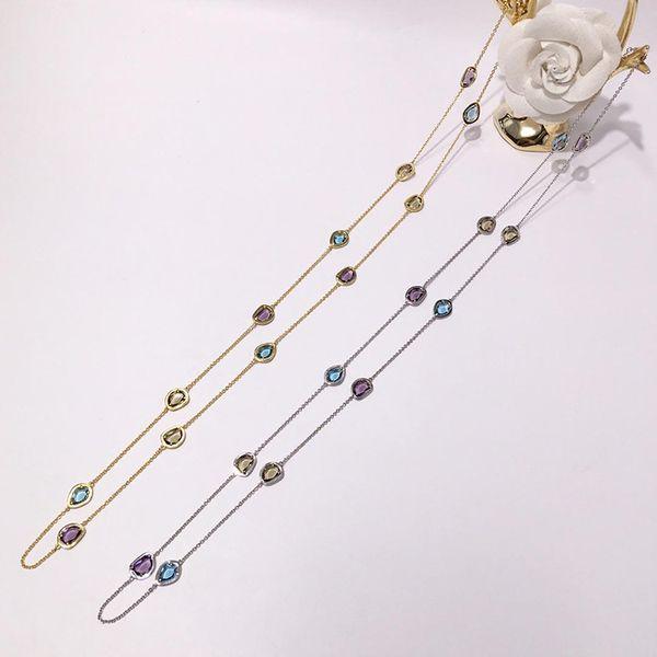 Dış ticaret sıcak takı bakır kakma yapay kristal renk kolye düzensiz kesim uzun kolye kız kazak zinciri doğum günü hediyesi