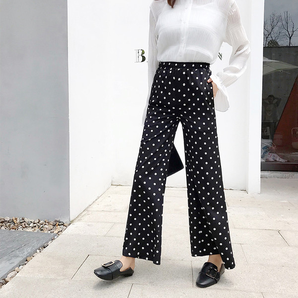 Elegant dot black flare pants women autumn chiffon long pants slim high stretch waist trousers female bottoms fashion vintage