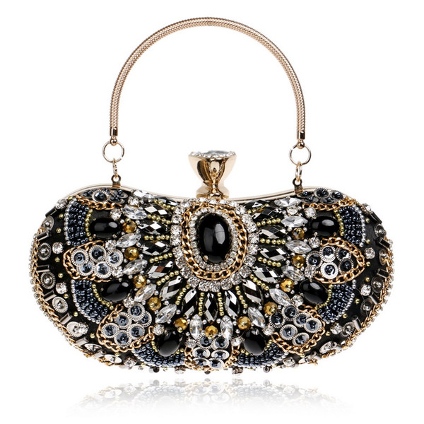 Latest Embroidery Vintage Style Women Evening Bags Beaded Diamonds Day Clutches With Handle Crystal Party Wedding Bag