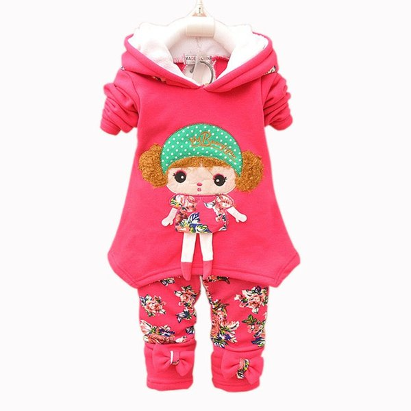 2018 autumn winter baby girl clothing sets toddler girls fleece thicken clothes for girls tracksuit warm infant suit