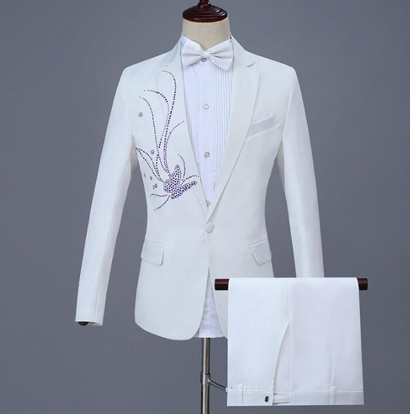 2018 new arrival slim white stage men suit set with pants mens wedding suits Bright diamond formal dress men's groom suit + pant