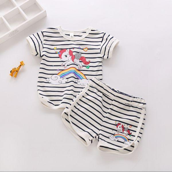 Compre Trajes De Bebé Unicornio Ins Niños Imprimen Camiseta Superior ...