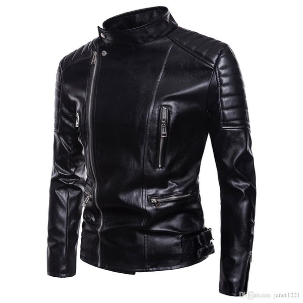 5XL Winter Jackets For Men Outdoor PU Brown Black Fall Winter Spring long Motorcycle Shell Leather Sleeve Mens Jackets Outerwear J180735