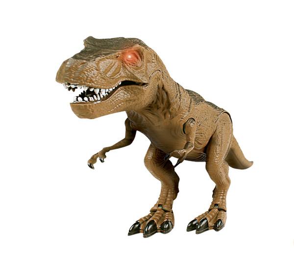 LNL 21in Kids RC T-Rex Walking Dinosaur Toy w/ Lights, Sounds - Brown