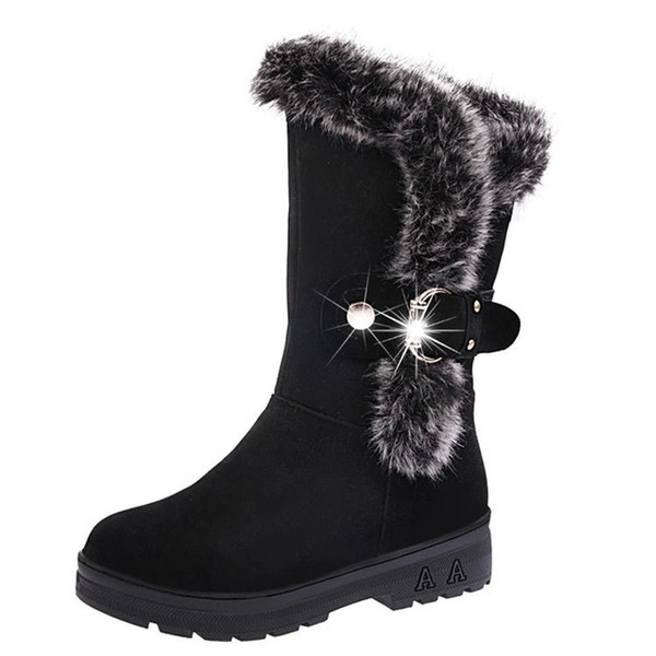 High Quality Winter Shoes Woman Warm Mid Calf Boots Fur Warm Ladies Chelsea Snow Boots Woman Plush Insole Winter Boots botas mujer