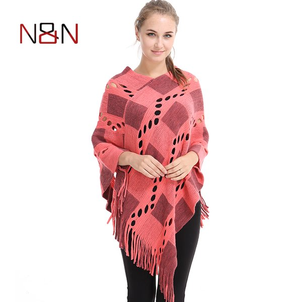 Spring Summer Women Hollow Out Sweater Knitted Tassel Poncho And Capes Ladies Long Size Cardigan Sweaters PH04