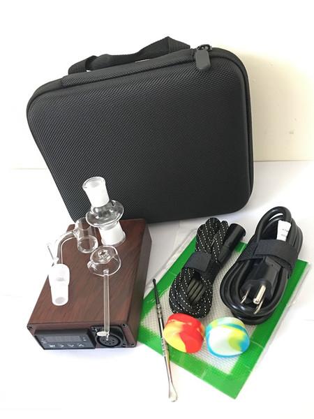 Quartz Portable Enail bongs dab rig E nails PID temperature controller box 14mm 18mm 2in1 pure quartz nails for water pipes