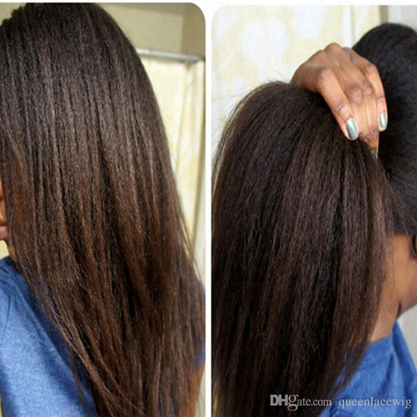 Heat Resistant Hair Yaki Kinky Straight Synthetic Lace Front Wigs Kinky Straight Wigs Black /Dark Brown/Medium Brown 1#2#4#6# For women