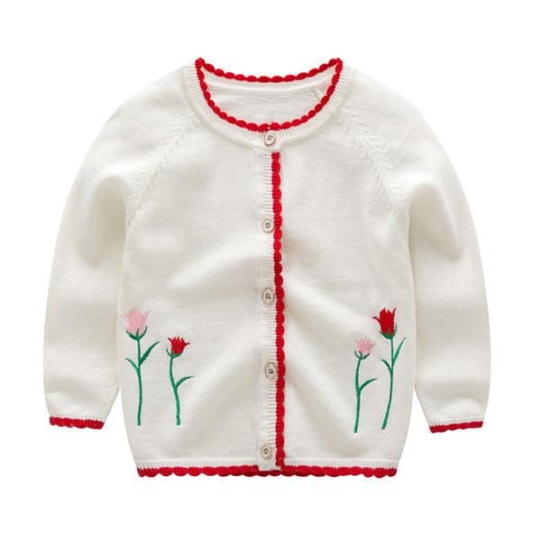 Mioigee 2018 Baby Cardigan lavorato a maglia maglione per le ragazze Bambini Abbigliamento Bambini Primavera Autunno Abbigliamento Capispalla Fiore Maglioni 2-6T
