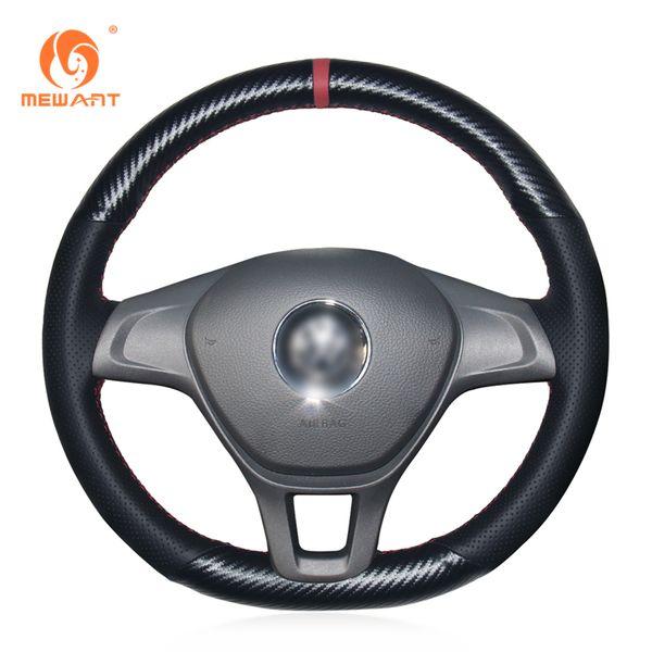 MEWANT Black Genuine Leather Black PU Carbon Fiber Car Steering Wheel Cover for Volkswagen VW Golf 7 Mk7 New Polo 2014-2017