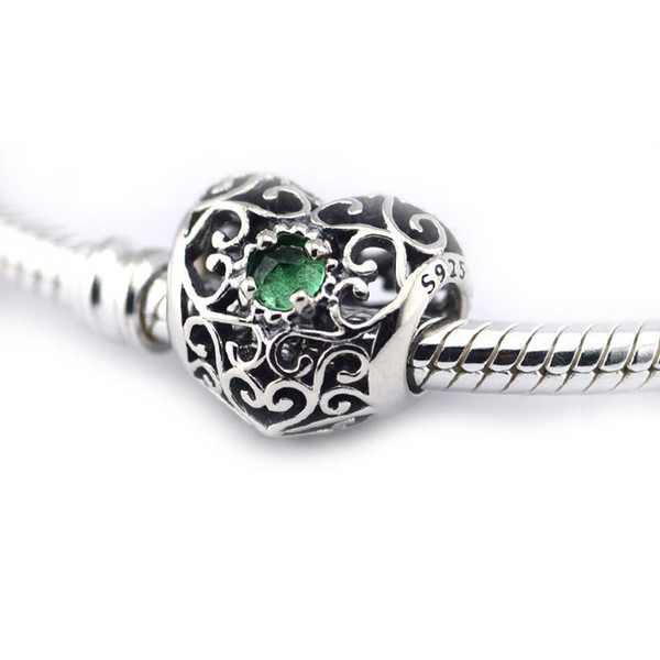 5pcs/lot 5pcs/lot May birthstone genuine charms 925 sterling silver economici fits pandora style bracelets MAY SIGNATURE HEART, ROYAL GREEN