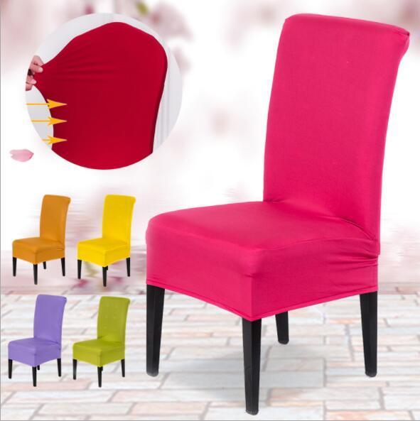 Cores sólidas Poliéster Spandex Cadeira De Jantar Cobre Para Tampa Da Cadeira Do Partido Do Casamento Marrom Cadeiras de Assento Da Cadeira de Jantar