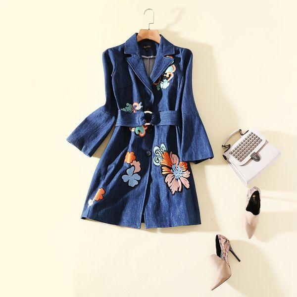 65239484c9 European and American women s wear autumn 2018 The new Long sleeve lapel  Flower embroidery Denim dress