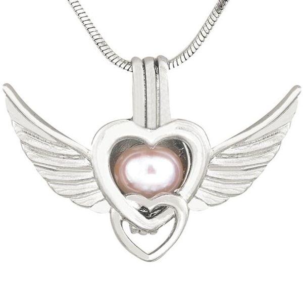 Nuovo argento antico ali d'angelo amore cuore collane ciondolo per le donne ciondolo medaglione perla ciondolo gabbia 190 stili CP036