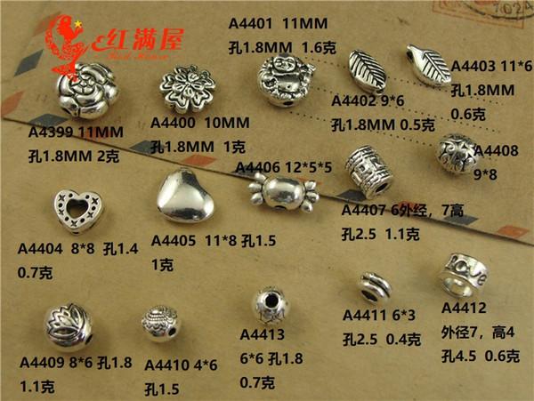 100 unids plata tibetana agujero pequeño flor del corazón granos de la hoja de metal buda cuentas sueltas hechos a mano pulsera DIY amor cangrejo encantos diapositiva espaciador