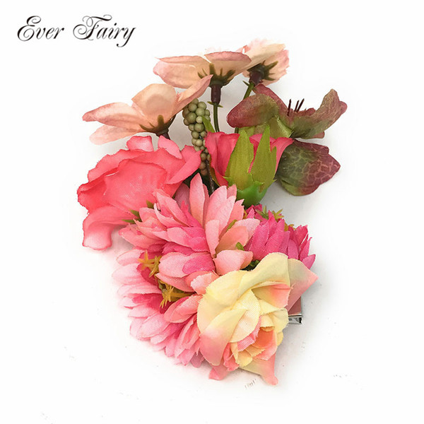 Apparel Accessories Headwear EVER FAIRY Beach Barrette Girl Boho Bridal Women Flower Brooch Women Hair Clip Hairpins Wedding Decoration