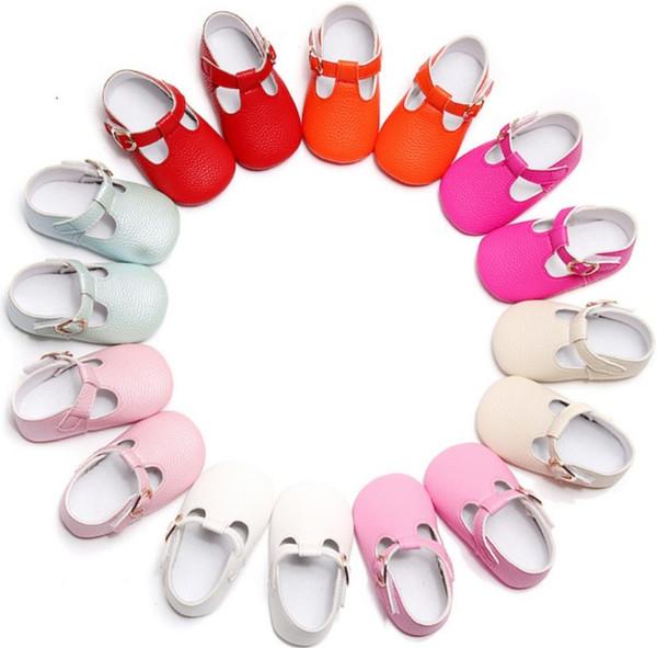 8 Couleurs INS Bébé Filles Chaussures Enfants Infantile Solide Doux Semelle PU Cuir antidérapant Chaussures Toddler Princess