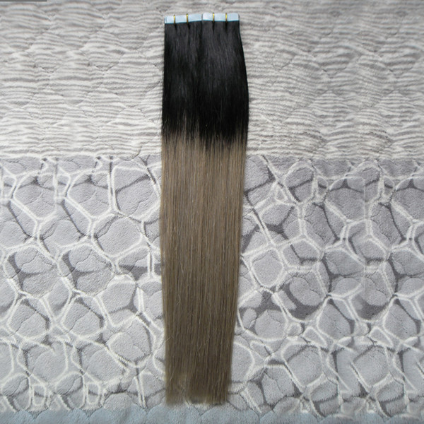 """Ombre Tape Hair T1B silver grey tape extension 40 Pieces Package Adhesive Seamless Hair 100 Grams 10"""" 12"""" 14"""" 16"""" 18"""" 20"""" 22"""" 24"""" 26"""""""