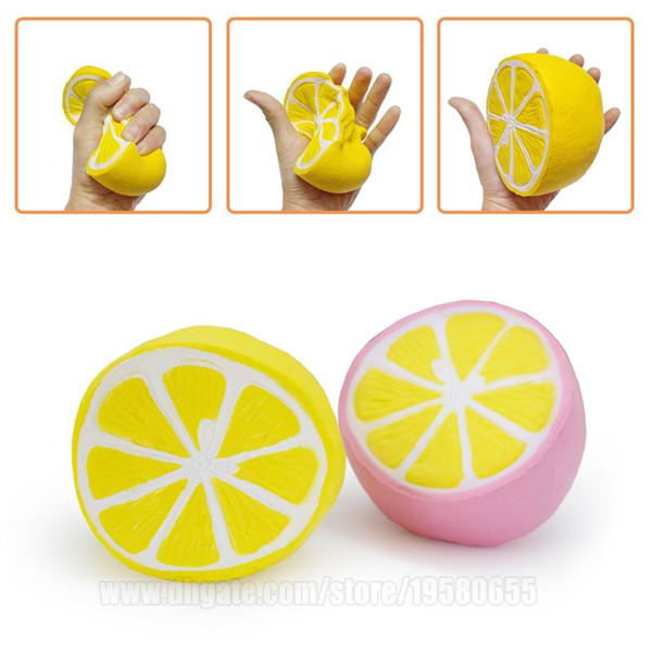 top popular Jumbo Squishy Citrus Lemon Soft Fruit Simulation Squeeze Perfume Slow Rising Squishies S Phone Strap Free Shipping SQU015 2021