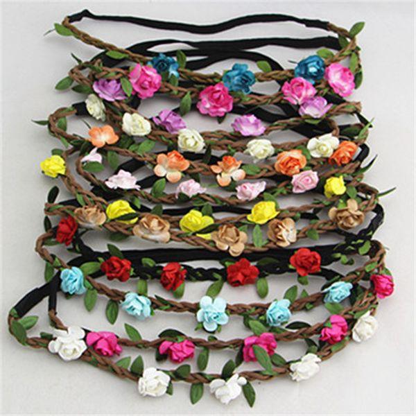 Fleur Couronne Bandeau Collier De Mariage Chapeau Tresse Boho Fleur Accessoires Cheveux pour Filles Femmes Bébé Fille K0015