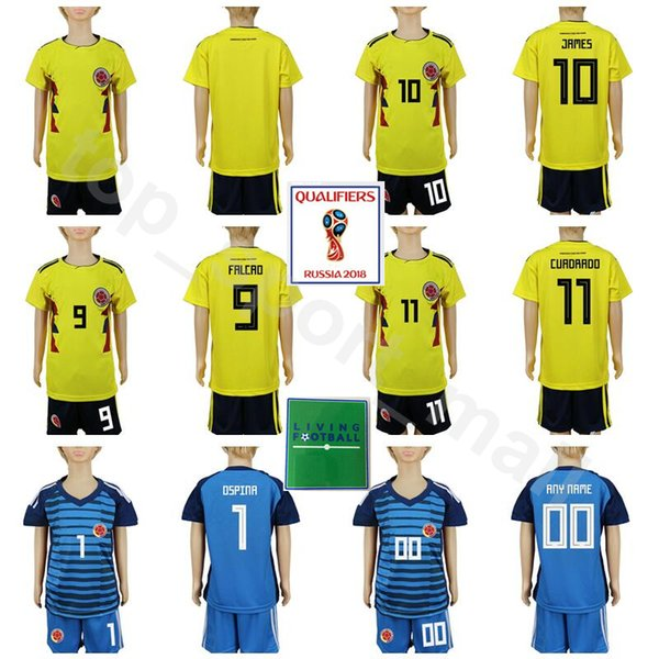 Youth Colombia Soccer Jersey 2018 World Cup Set Kids 10 JAMES 9 FALCAO 11 CUADRADO 7 BACCCA 1 OSPINA Football Shirt Kits Children Goalkeeper
