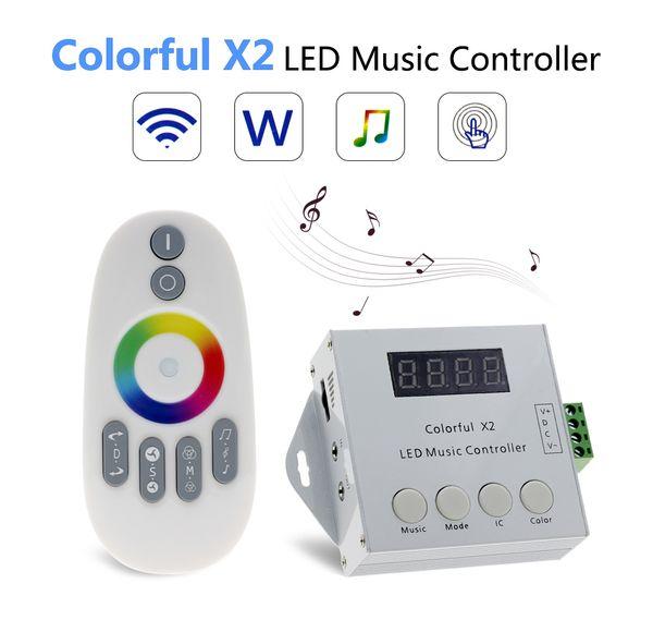 DC5V-24V WS2812B WS2811 / WS2813 / USC1903 Sihirli LED bant dijital renkli müzik ile X2 denetleyici RF dokunmatik uzaktan Max 1000 piksel