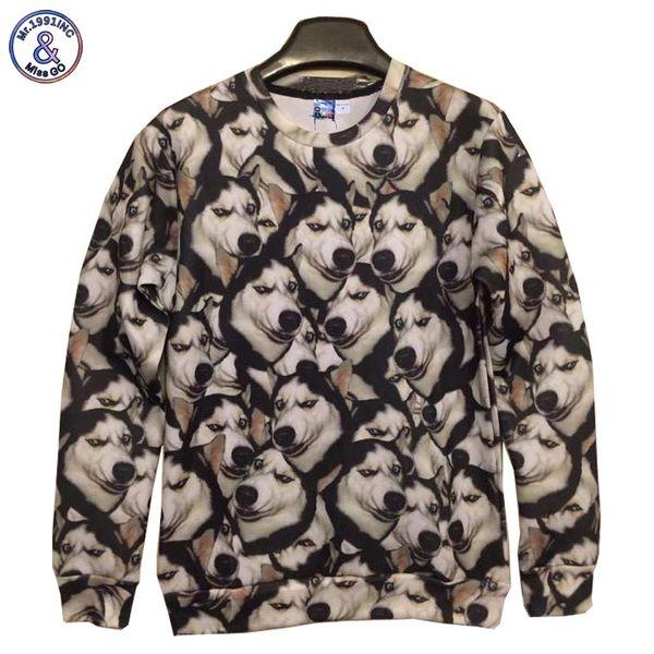 2017 Mr.1991INC New fashion women/men hoodies Crazy husky dog doge print 3d sweatshirt hip hop 3d hoodies casual pullovers