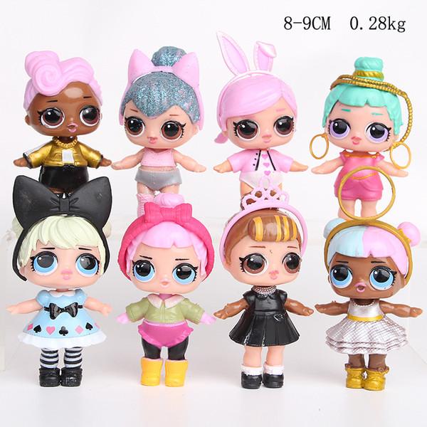 8 pçs / lote 9 CM LOL Boneca Americano PVC Kawaii Crianças Brinquedos Anime Figuras de Ação Realistas Reborn Bonecas para meninas Presente de Natal de Aniversário T14