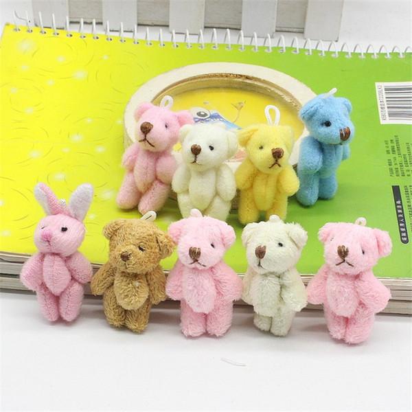 Hot sale 5PC 3.5cm Kawaii Mini Joint Bowtie Teddy Bear Plush Kids Toys Stuffed Dolls Wedding Gift For Children
