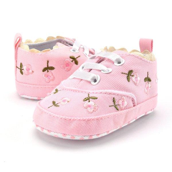 Baby Girl Shoes White Lace Floral Embroidered Soft Shoes Walking Toddler Kids