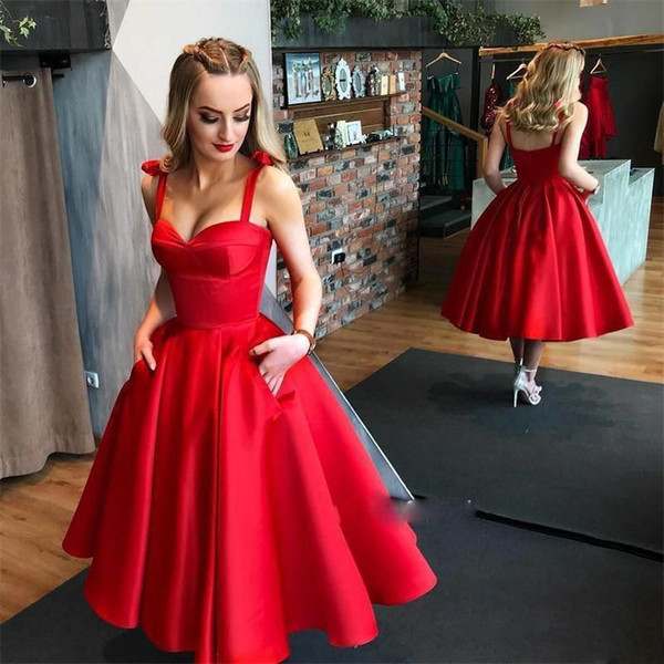 Simple Charming Red Prom Dresses with Pocket Spaghetti Straps A Line Draped Satin Sweetheat Tea Length Party Dresses for Dinner