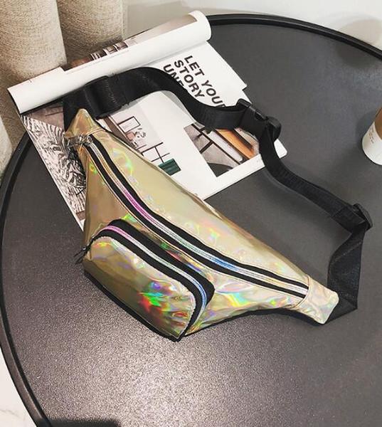 Shiny Laser Hologram PU PVC Transparent Waterproof Women Waist Bag Beach Fanny Pack Zipper Phone Case Bum Bag With Belt Zipper Opp Aicoo