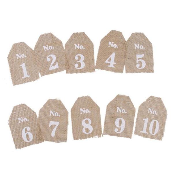 1-10 Vintage Hessian Burlap Banner Rustic Jute Vintage Wedding Table Numbers Wedding Bunting Banner Party Favors
