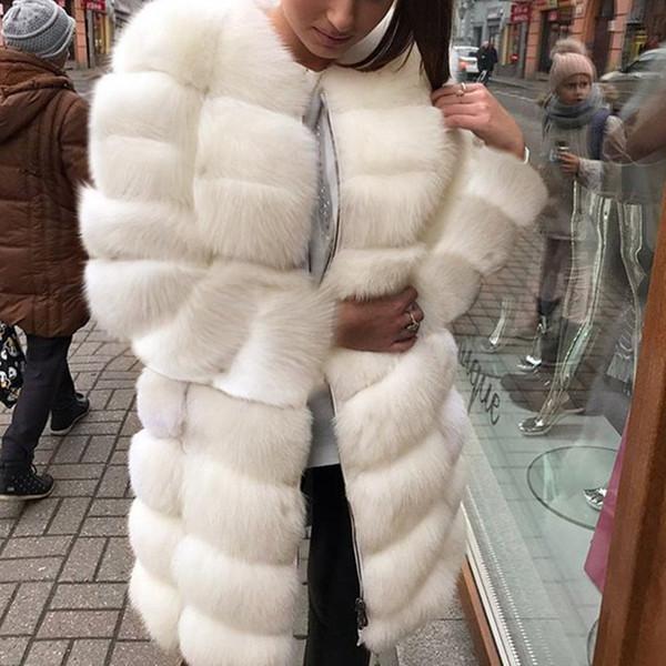 Branco Grosso Quente De Pele De Manga Longa O-pescoço Jaqueta de Inverno Moda Feminina Da Pele Do Falso Casaco Furry Outerwear Casaco Plus Size 3X 6Q2398