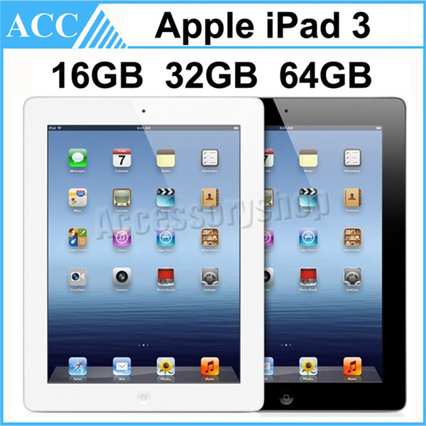 best selling Refurbished Original Apple iPad 3 WIFI Version 16GB 32GB 64GB 9.7 inch IOS Dual Core 1.0 GHz A5X Chipset Tablet PC DHL 1pcs