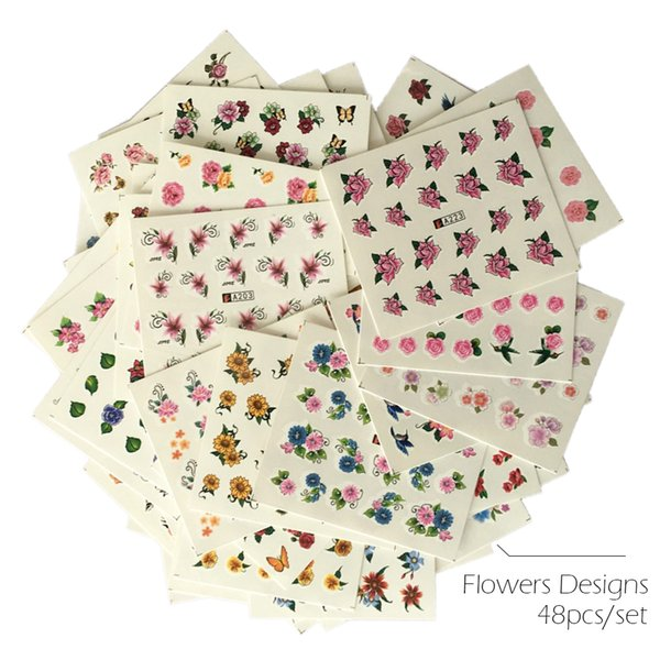 sticker flower 48pcs/lot Water Transfer Sticker Flowers Full Cover Butterfly Mixed Color Designs Tips Nail Art Wrap Slider Set SAA193-240