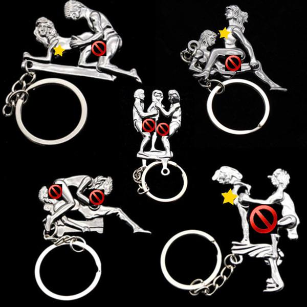 Liebhaber Sexy Haltung Ding Ding Keychain für Frauen Männer Auto Schlüsselanhänger Tasche Anhänger Legierung Erwachsene Lustige Spielzeug Schlüsselanhänger Modeschmuck