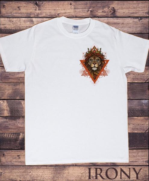Weißes T-Shirt der Männer geometrischer Löwe-Taschen-Entwurf Löwe-König TS607Funny freies Verschiffen Unisexbeiläufiges Geschenk