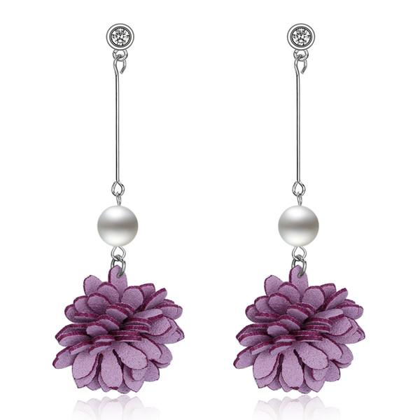 Женщины долго моделируется жемчужные цепи серьги с цветок кулон Кристалл CZ шпильки