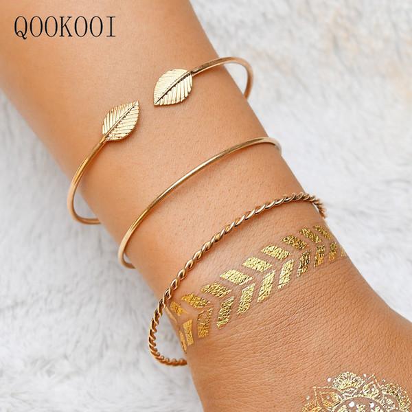 Qookoo eu 3 pçs / sets declaração folhas espiral pulseiras definir mulheres menina estilo punk charme manguito pulseira pulseira de metal moda jóias
