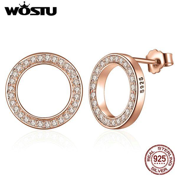 100% 925 orecchini in argento sterling color oro rosa per sempre con CZ trasparente per le donne Fine Jewelry regalo originale XCHS484