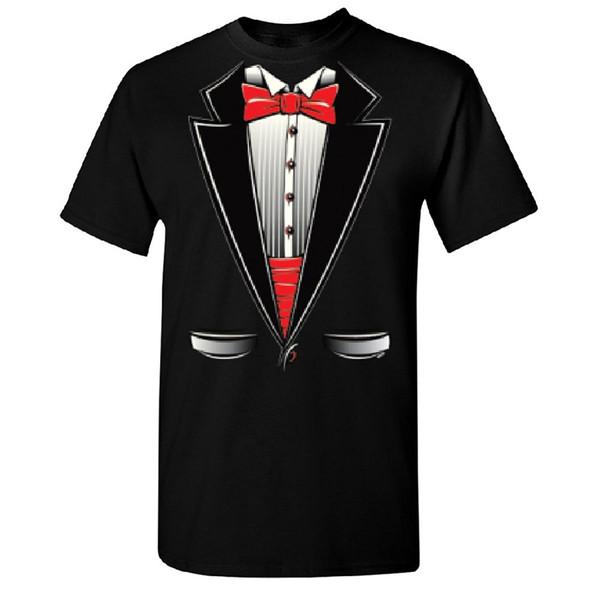 Smokin Tuxedo with Bow Tie Men's T-shirt Tux Costume Halloween Tee Short Sleeve Summer Style Ment Shirt Summer Style T Shirt