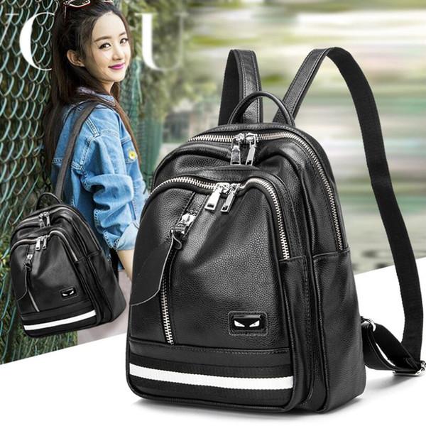 Zaino in vera pelle nera Borsa a spalla doppia femminile nera per borsa stile giapponese e coreano Borsa da viaggio Zaino alla moda CX137
