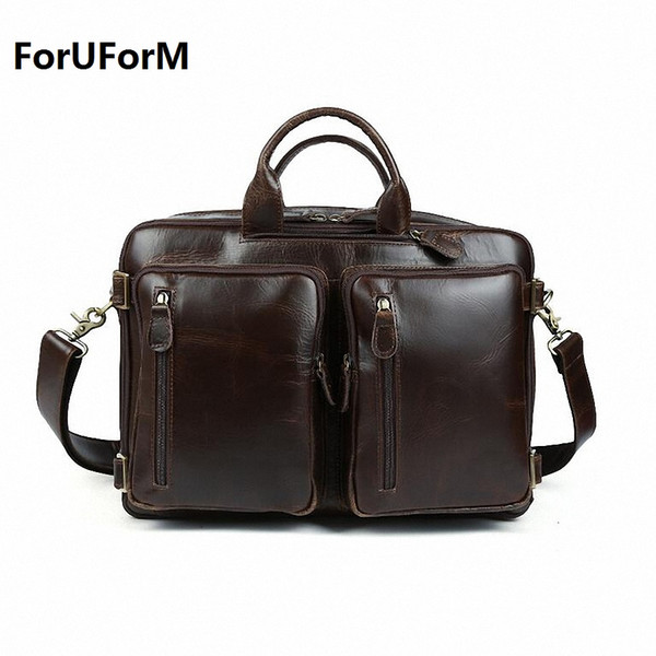 Men Genuine Leather Briefcase Messenger Bags Men travel bags For 14 inches Notebook handbag Shoulder Bag Office LI-781